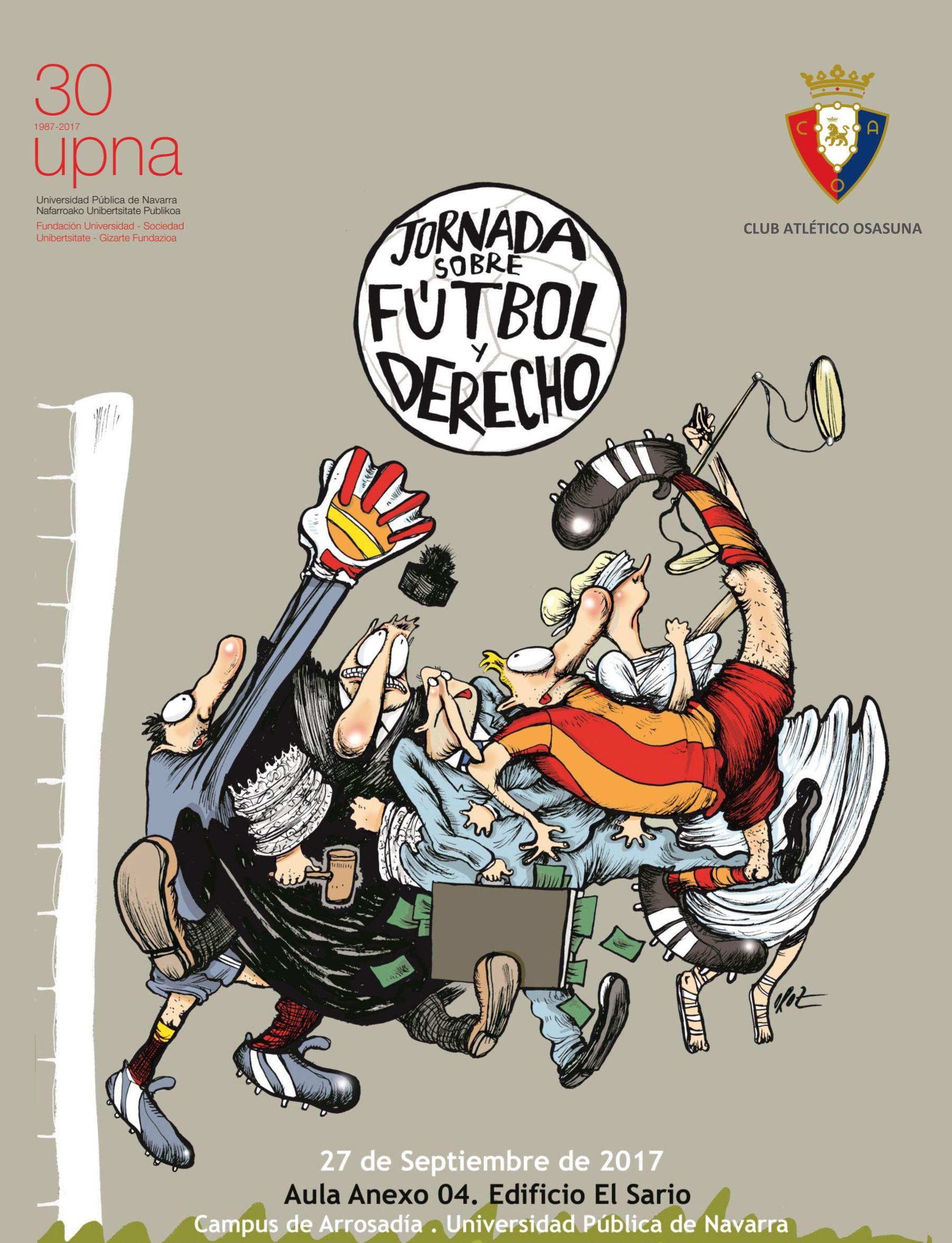 Cartel de la primera jornada de fútbol y derecho de la UPNA.